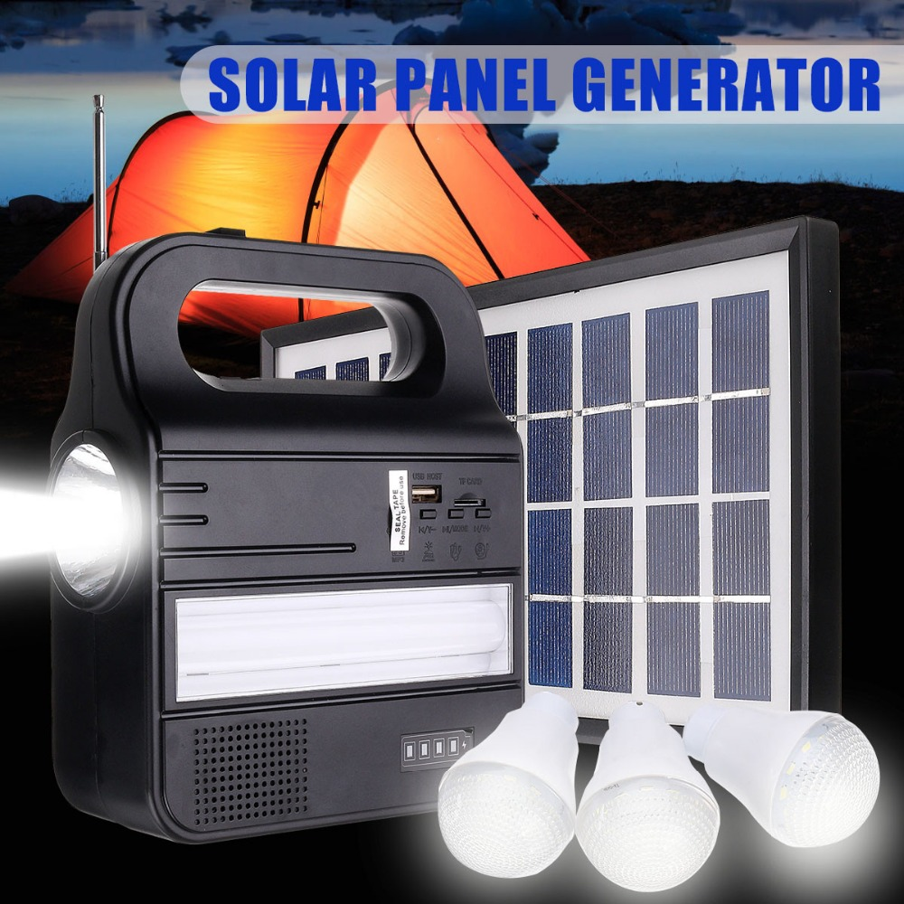 110 220V Power Storage Generator LED Light 6V 3W Solar Panel USB Charger Home System Kit Rechargeable Sealed Lead acid Battery