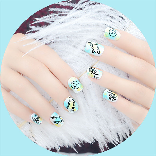 24Pcs Cute Kids False Nails Full Cover Short Green with Scrawl Nep ...