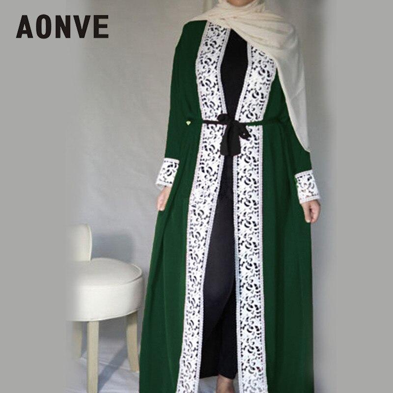 Aonve Lange Spitze Rot Abayas Islamische Frauen Djellaba Dubai Spitze Türkische Roben Arabischen Damen Öffnen Kaftan Muslimische Marokkanische Schwarz Abaya