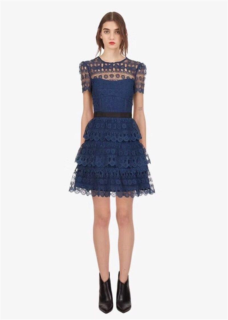 Automne Nouveau Robe Mini De 2018 Partie Haute Dentelle Arrivent Hiver Qualité Femmes Bleu n0wONXkP8