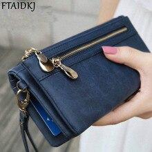 FTAIDKJ Universal Multifunction Women Wallet PU Leather Phone Bag Case Female Double Zipper Clutch Coin Purse Ladies Wristlet