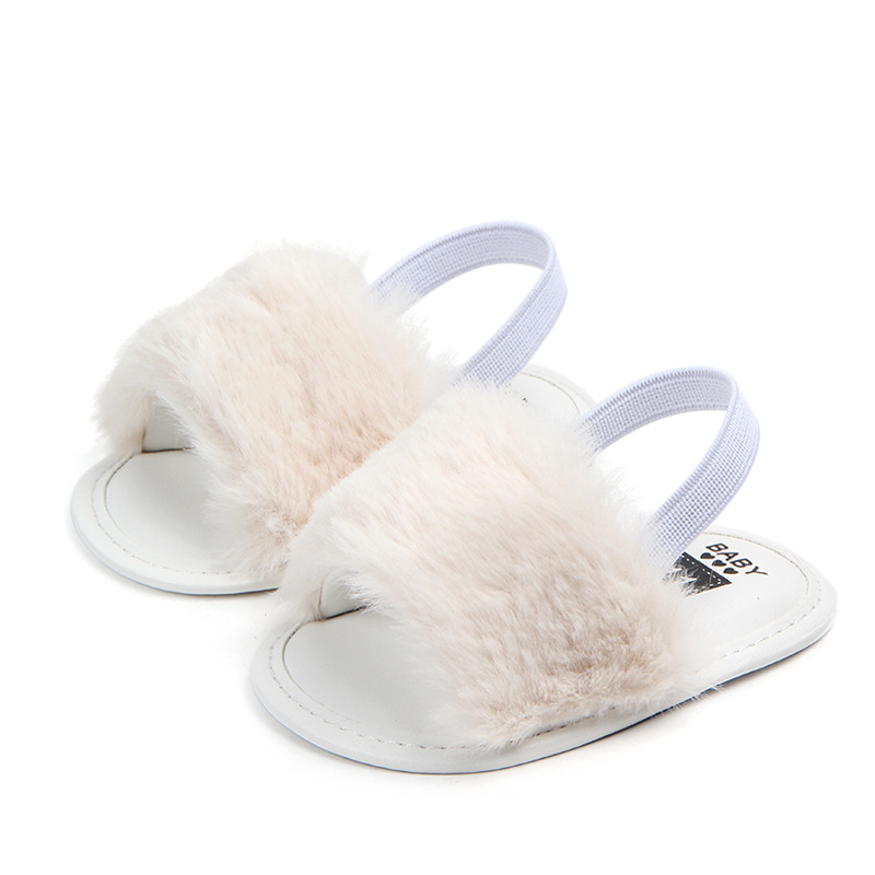 Classic Baby Girl Slipper Sandals Summer Soft Hair Style Breathable Baby Fur Shoes Simple Elastic Sandals Princess Baby