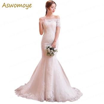 Elegant Mermaid Wedding Dress 2018 Beaded Bride Dresses Sweep Train Bridal Gowns Custom Made Vestido De Noiva robe de mariage Wedding Dresses