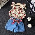 Camisa Da Flor meninas + Calça Jeans Calças Curtas Roupas Definir Bebê Conjunto Roupa Da Menina Das Crianças Dos Miúdos Vestuário de Verão Atacado Roupas Bebês