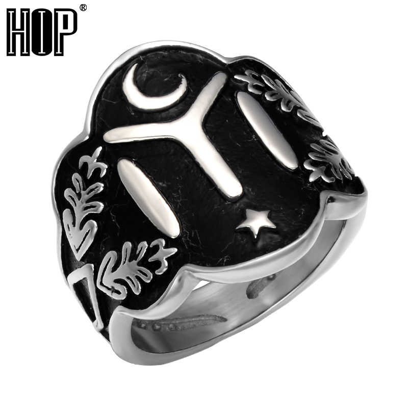 HIP Size 7-13 Ottomans Seal Kayi Ertugrul Mens Rings Cool Two Tone Vintage  Stainless Steel Star Moon Ring for Men Punk Jewelry