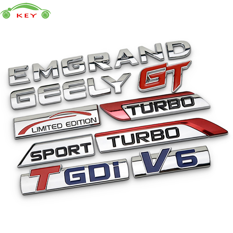 Metallo Autoadesivo Dell'automobile per Geely Emgrand TGDI GT V6 Turbo Limitata edizione Sport Auto Body Decal Posteriore In Lega di Lettera Emblem Trunk Badge