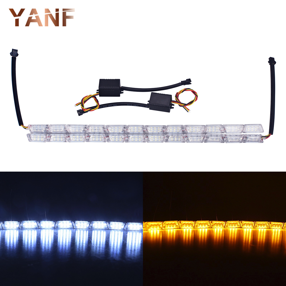 2 X 12LED Car-styling Flexible White/Amber Switchback LED Knight Rider Strip Headlight Sequential Flasher DRL Turn Signal Lights