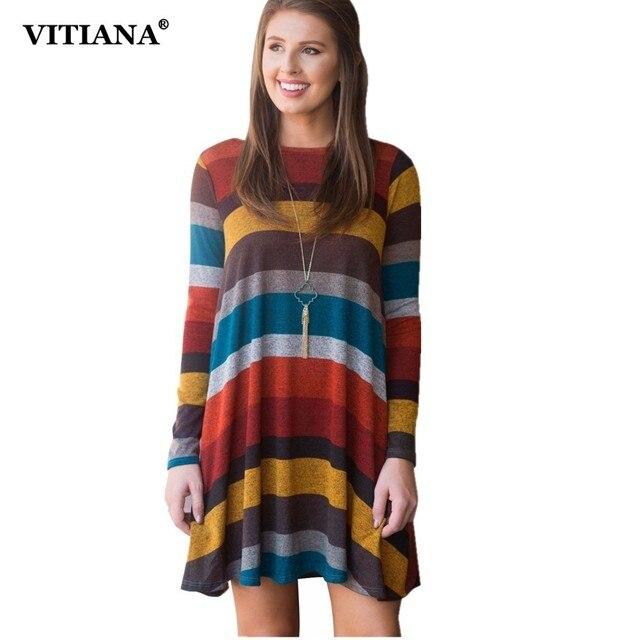 85fd100f56e0 VITIANA Women Elegant Office Work Short Dress Shirt Female 2018 Autumn  Striped Streetwear Loose Casual Mini Dresses Vestidos