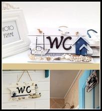 Wood Mediterranean-Style WC Doorplate Home Decoration Nautical Wall Decor