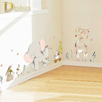 Decoratie Stickers Kinderkamer.Cartoon Bos Blo Olifant Konijn Giraffe Dier Muurstickers Kinderkamer