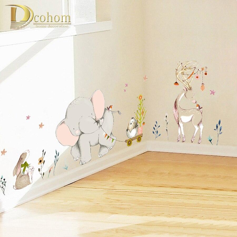 Cartoon Wald Flowe Elefanten Kaninchen Giraffe Tier Wand Aufkleber Kinder Zimmer Dekoration Vinyl Tapete Baby Schlafzimmer Wand Abziehbilder