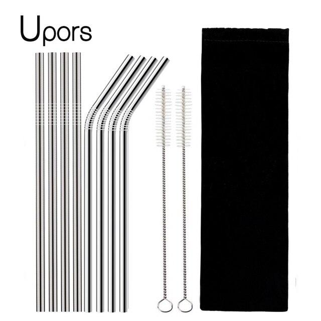 UPORS 4/8 Pcs Herbruikbare Rietje Hoge Kwaliteit 304 Rvs Metalen Stro met Cleaner Brush Voor Mokken 20/30 oz