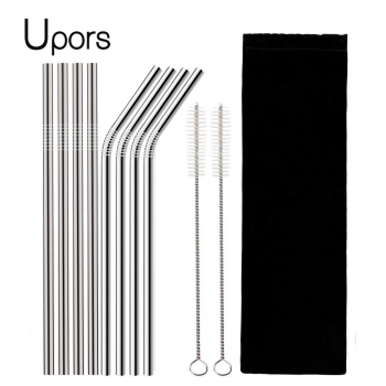 UPORS 4/8Pcs Reusable Drinking Straw High Quality 304 Stainless Steel Metal with Cleaner Brush Wholesale - discount item  10% OFF Kitchen,Dining & Bar