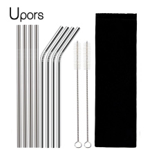 UPORS 4/8Pcs Reusable Drinking Straw High Quality 304 Stainless Steel Metal Straw with Cleaner Brush For Mugs 20/30oz (China)
