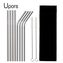 UPORS 4/8 Uds pajita reutilizable de alta calidad 304 Acero inoxidable pajilla de metal con cepillo limpiador al por mayor