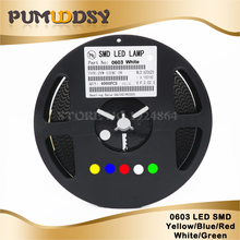1Reel 4000pcs 0603 SMD LED diodes light  Yellow Red Green Blue White new and original