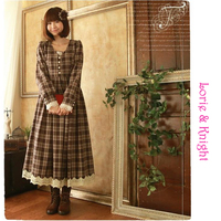 Japanese College Girl Wool Blend Plaid Tea Length Spring Dress Lolita Mori Girl Pleated Maxi Dress