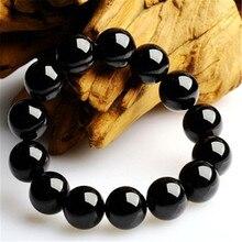 Free Shipping New 100% Black Agate Obsidian Beaded Jade Bracelet High Quality Lucky Buddha Round Beads Strand Bracelets Jewelry
