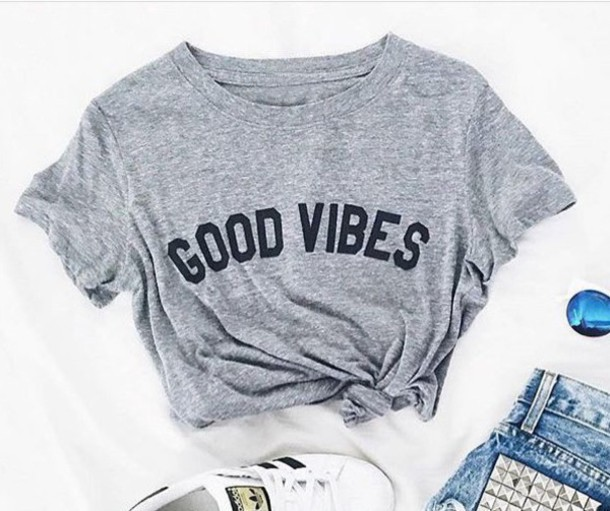 Neue ankunft good vibes mode tumblr t-shirt beiläufiges mädchen tops tees Unisex t-shirt hohe qualität t-shirt casual t-shirt
