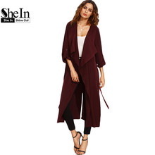 SheIn Womens Casual Outerwear Coats Ladies Autumn Burgundy Shawl Collar Rolled Up Long Sleeve Split Long Outerwear
