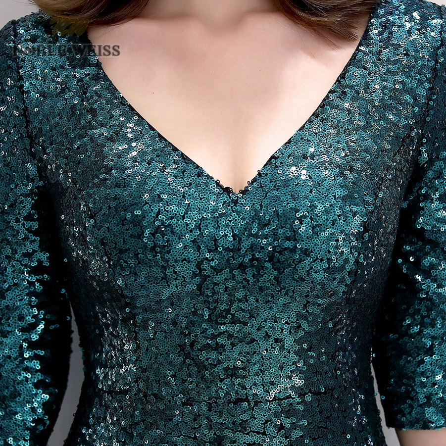 Image 5 - prom dresses 2019 v neck mermaid prom dress sexy vestidos de gala  zipper back floor length prom gown with short sleevesProm Dresses   -