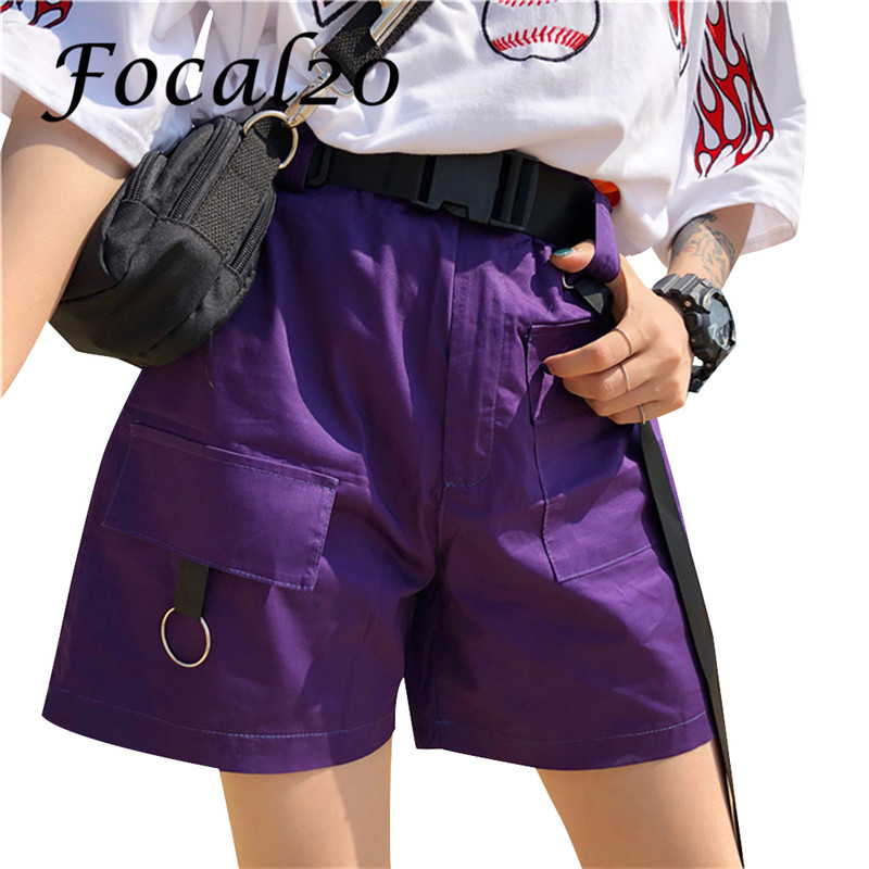 Focal20 Streetwear Belt Lace-up Pocket Women Shorts Overalls Elastic High Waist Summer Casual Solid Color Female Shorts