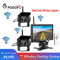 Podofo Wireless Dual Backup Car Rearview Camera Parking Assistance System Waterproof IR Night Vision 7 Monitor for RV Truck Bus