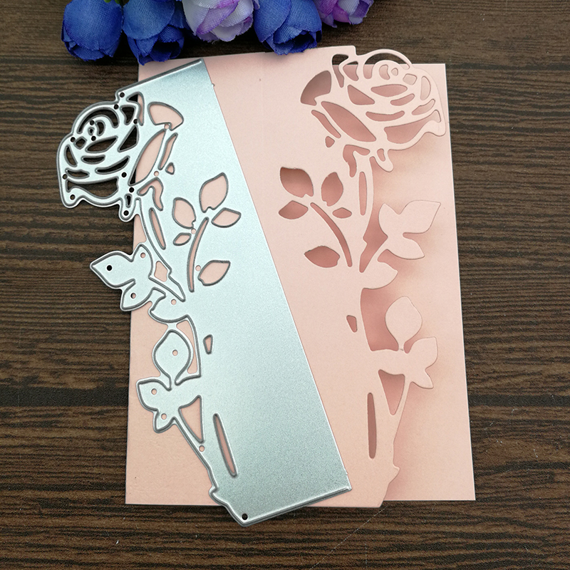 Stencils Cutting-Dies Die-Cut Album Scrapbooking Paper-Card Embossing Leaves Rose Border
