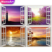 MomoArt Full Square Drill Diamond Embroidery Scenry Sea Beach Window Outside Painting Weeding Room Decor
