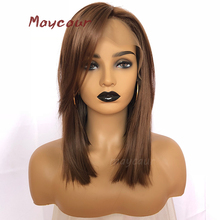 Maycaur #10 Color Short Straight Lace Front Wigs With Bangs Brown Bob Synthetic Hair Wig for Women