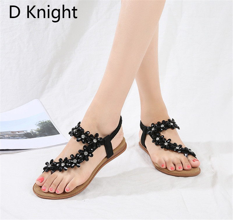 the sale of shoes picked up factory authentic Stylish Summer Sandals Lady Platform Shoes 2018 Crystal Black Female Sandal  Flower Women's Flip-flops Boho Beach Shoes For Woman