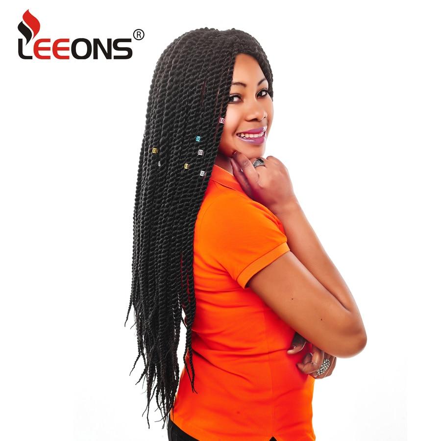 Leeons 1-9 Pcs Ombre Vlechten Haar Zwart Doorgelust Gehaakte Vlechten Senegalese Twist Haak Hair Senegal Twist Voor Afro Vrouwen