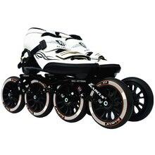 Değer! Karbon Fiber fiberglas hızlı tek sıra tekerlekli paten beyaz çocuk yetişkin rekabet sokak yarışı spor ayakkabılar eğitim Patines