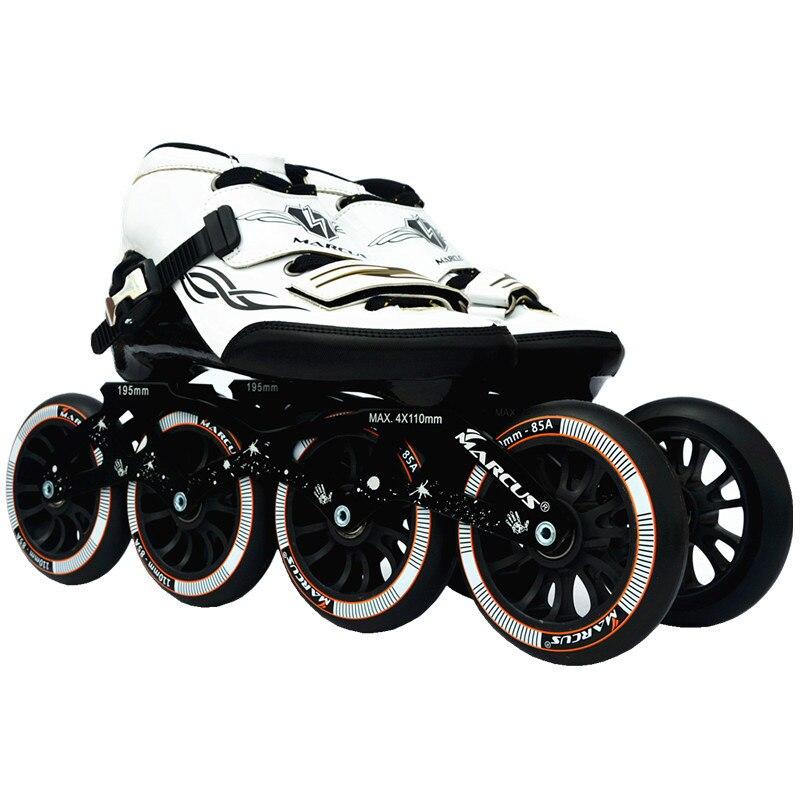 Intéressant! Fibre de carbone fibre de verre vitesse patins à roues alignées blanc enfant compétition adulte chaussures de Sport de course de rue Patines d'entraînement