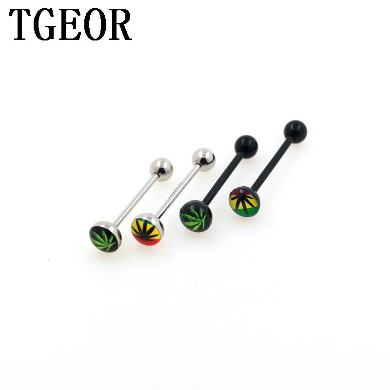 Covet Jewelry Zebra Stripe Logo Acrylic Barbell Tongue Ring