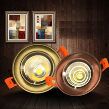 European style Bronze/Red Copper COB 5W 7W 10W 12W LED dimmable Nure White/Nature White/Warm White Downlight Ceiling Lamp(China)