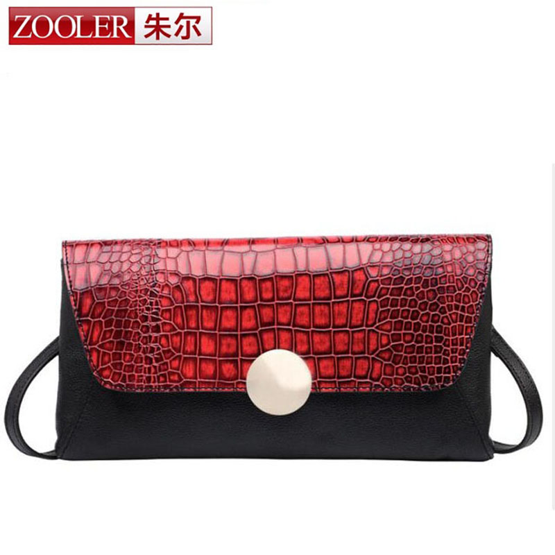 ZOOLER Brand Fashion Women Messenger Bags Famous Design Genuine Leather Shoulder Crossbody Bag Crocodile Pattern  Small Bags european and american fashion black leather zipper man bag design famous manberce brand male shoulder messenger bags