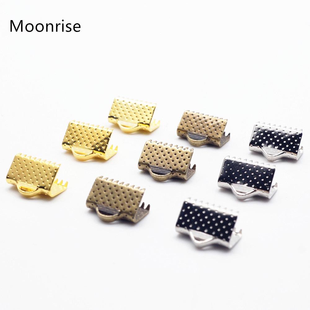 цена на 50Pcs Gold Plated Ribbon Crimp End Caps of Necklace String Ribbon Clip Bracelet Cord Foldover Bracelet Connectors Finding HK006