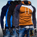 Men Spring Warm Hoody Ourdoor Slim Fit Splicing Color String Casual Pullover Top