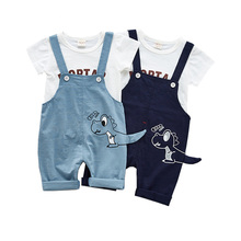 Summer boy clothing set Kids Clothes Short sleeves Children Boy Set for Girl Cotton Childrens t-shirt+suspenders
