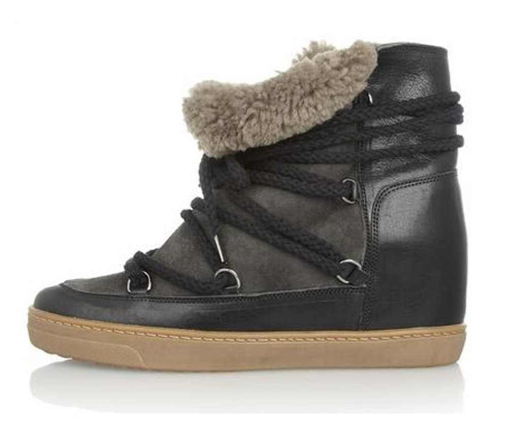 0525f41538ed Winter Warm Fur Snow Boots Black Brown Leather Women Wedge Ankle Boots Lace  Up Height Increasing