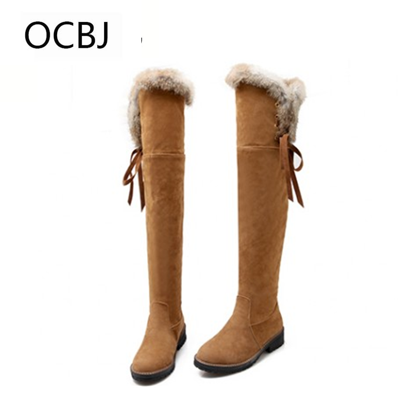Solid Fur Knee High Snow Boots Women's Fashion Winter botas mujer Warm Long Plush Platform Flats Thigh Female Shoes Leather fur snow boots winter warm female cotton padded shoes women autumn 2017 australia plush fashion short ankle boot boats mujer hot