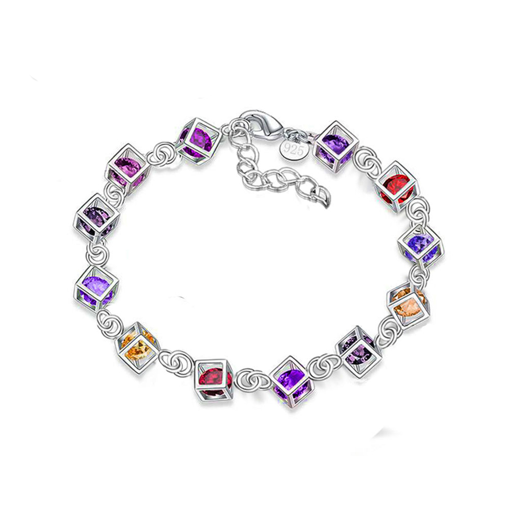 New Fashion Color zircon Jewelry Silver Bracelet Charm Bracelets for Women Cubic Zirconia Bracelets & Bangles S71
