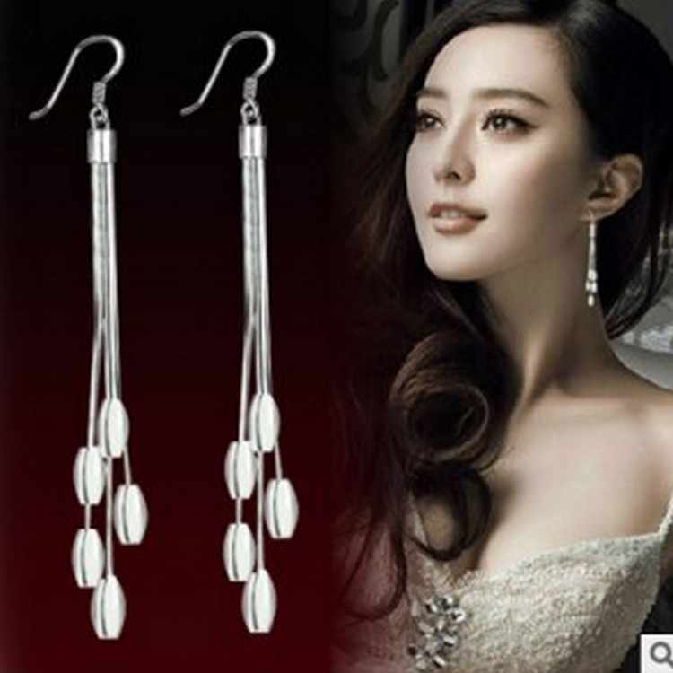 New Fashion Five-line Silver-plated Long Earrings Pendant Oval Tassel Earrings 2017 Jewelry Wholesale Free Shipping Bijoux Femme