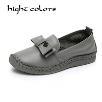 New Handmade Shoes 2018 Retro Loafers Women Shoes Casual Work Driving Shoe Comfortable Women Flats Genuine