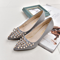 Lucyever 2017 Spring Summer Women's Rivets Punk Pumps Fashion PU Leather Stilettos High Heels Pointed Toe Slip on Shoes Woman
