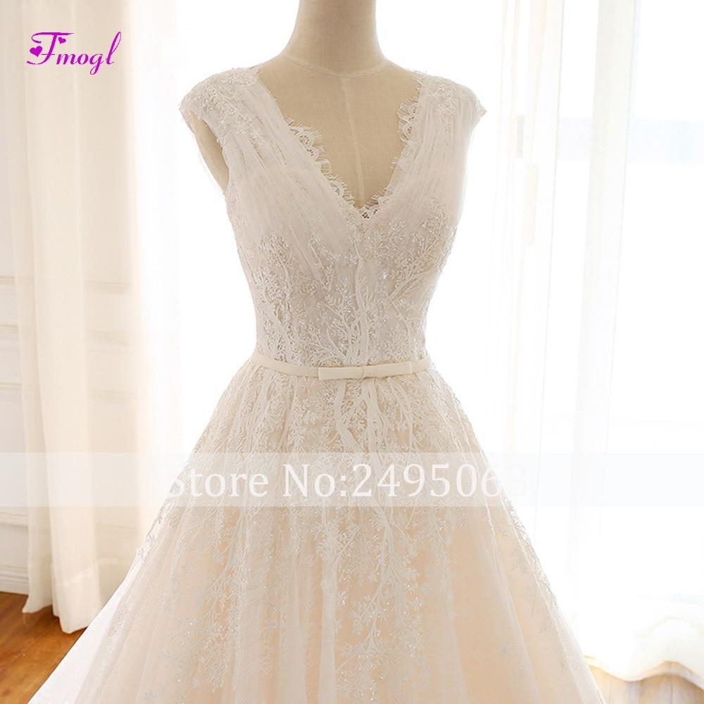 Image 4 - Fmogl Romantic V neck Pleated Lace A Line Wedding Dress 2019 Gorgeous Appliques Princess Bridal Gown Vestido de Noiva Plus Size-in Wedding Dresses from Weddings & Events