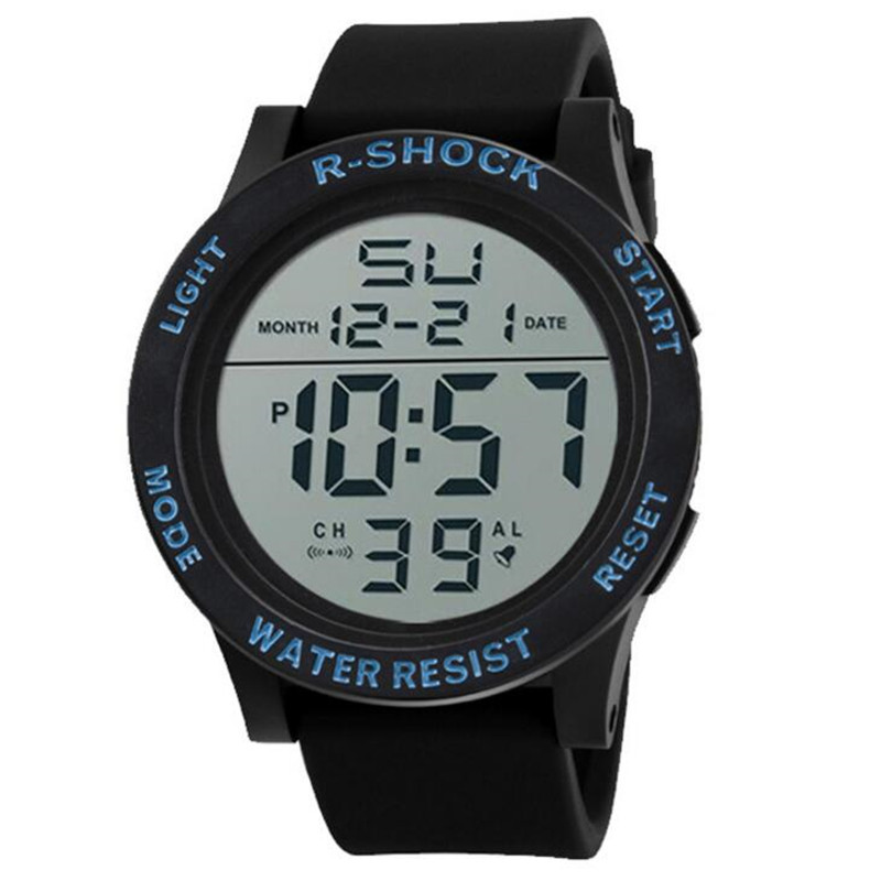 Big Screen Luminous Outdoor Waterproof mens Watches LED Sports Electronic Men Watches Hombre Relogio Digital Montre Clock E34
