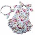 2016 Новый Хлопок Летом Взъерошенные Цветочные Baby Girl Одежда Установить Заставку, рукавов Малышей Девушка Ползунки Фотографии Реквизит #7E2041