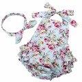 2016 Novo Verão de Algodão Floral de Babados Baby Girl Clothes Set Cabeça, sem mangas Da Menina Da Criança Romper Fotografia Props #7E2041